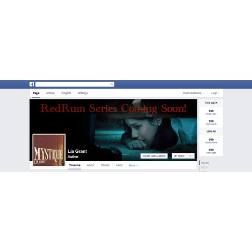 Create a suspenseful Facebook cover for a crime fiction novel