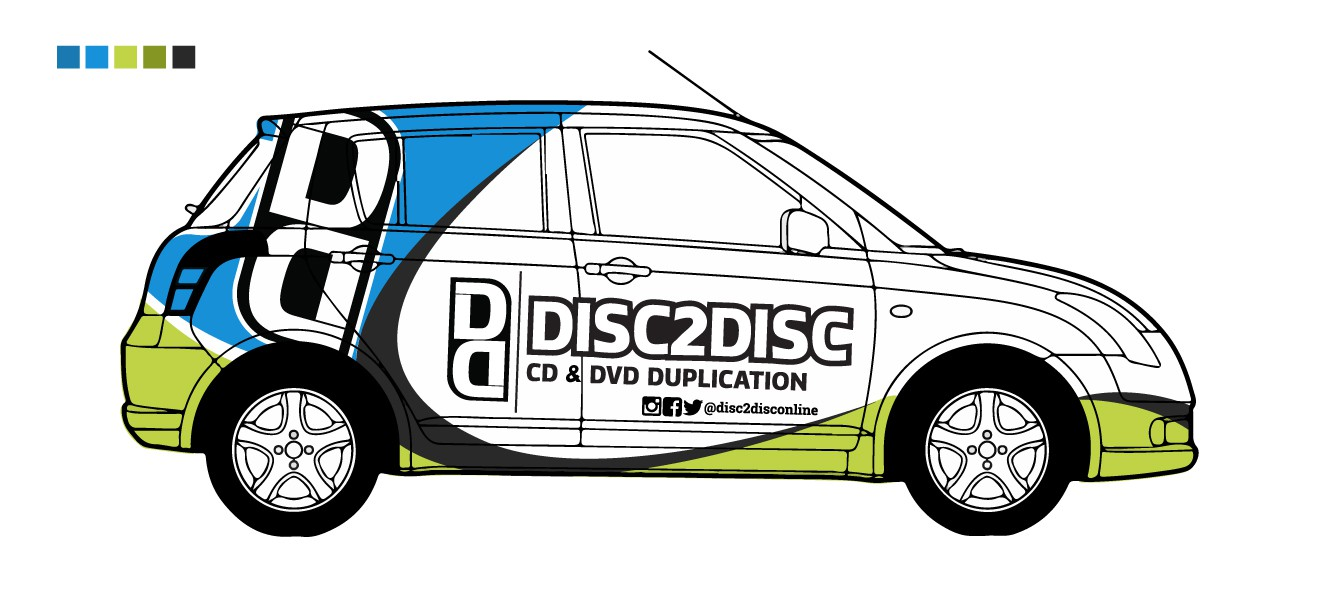 I need a creative full body wrap designed for a 2008 4-Door Suzuki Swift, incorporating my two logos (or company names),