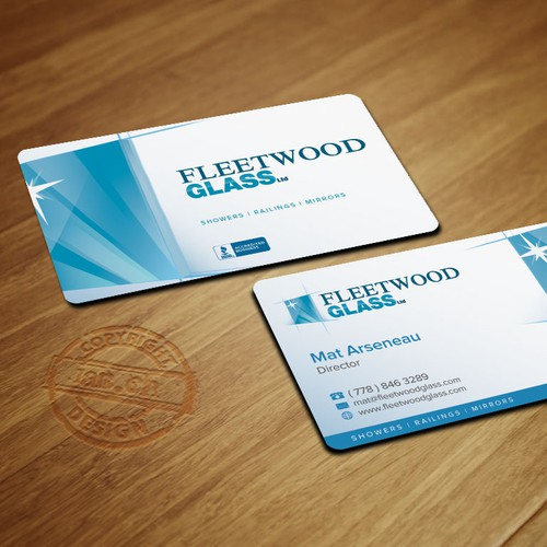 Create a stand out, modern business card for Fleetwood Glass Ltd.
