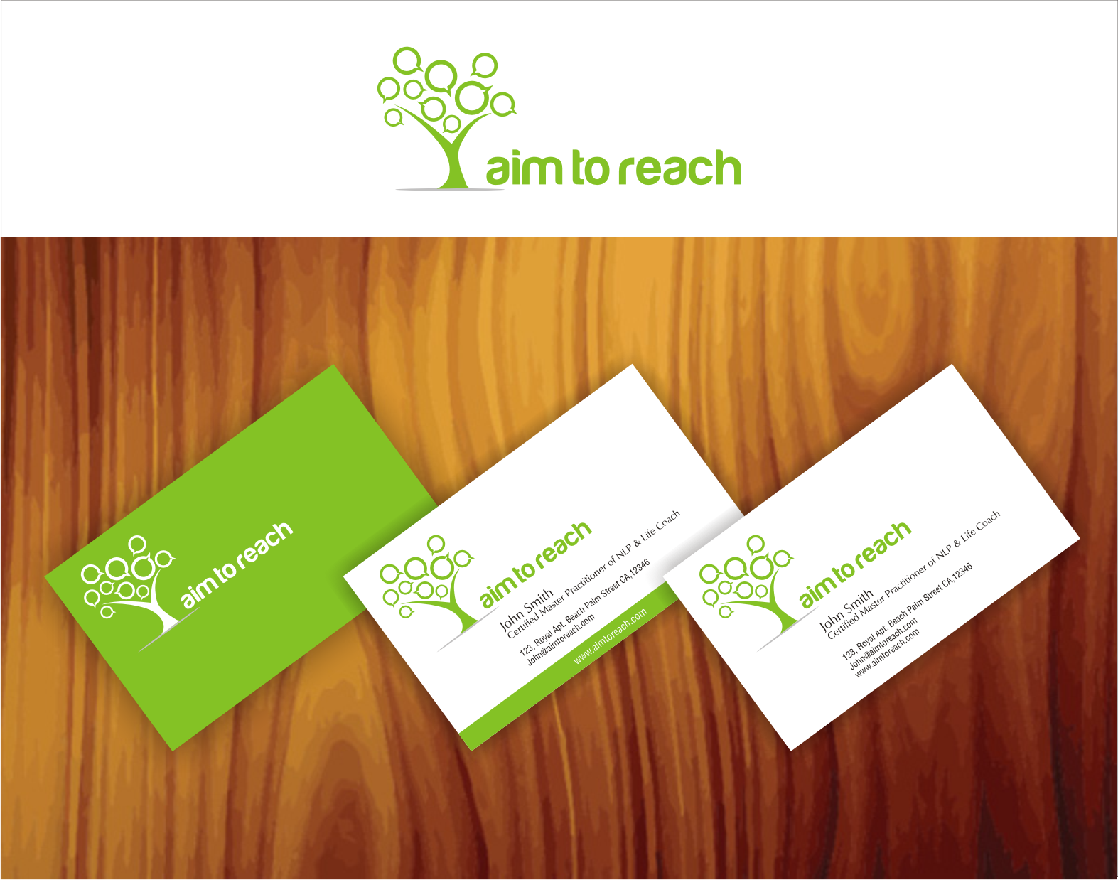 Create the next logo and business card for Aim to Reach