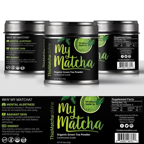 Product Label for Edgy Matcha Tea Brand