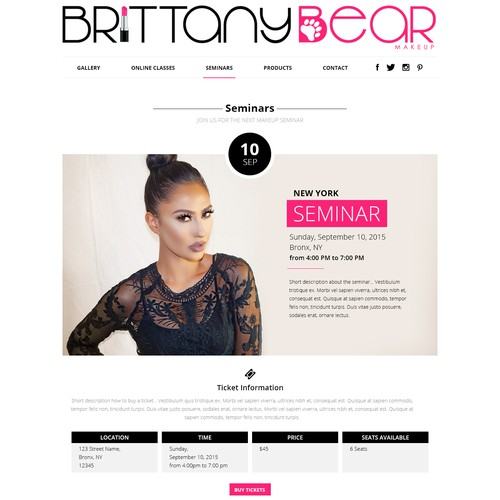 Website design for a makeup artist