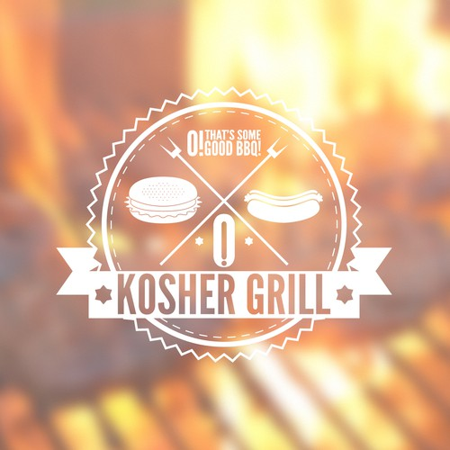 Create a hip logo and business card design for a Kosher Hot Dog & burger  cart in LA
