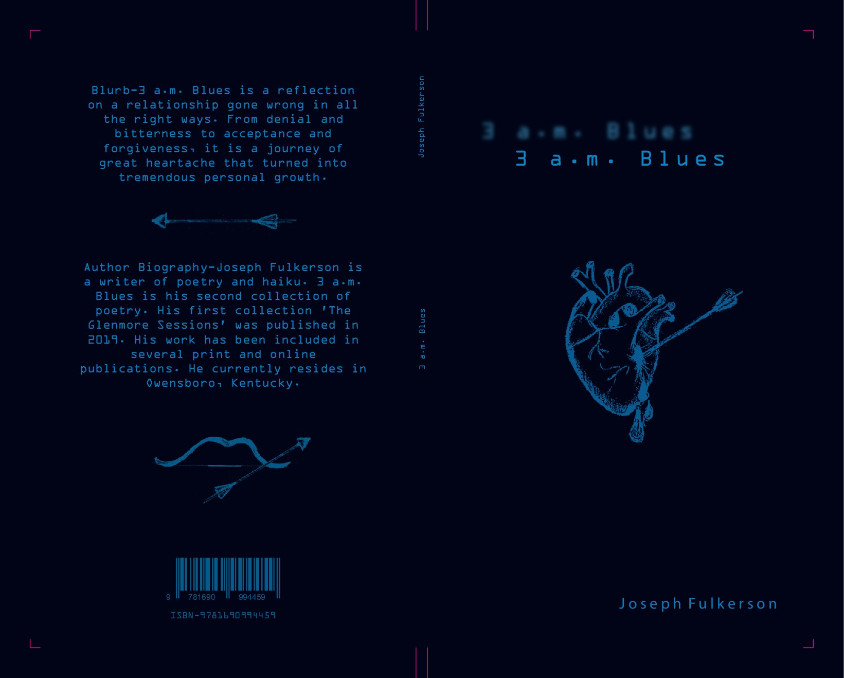 A front and back cover for a collection of poetry