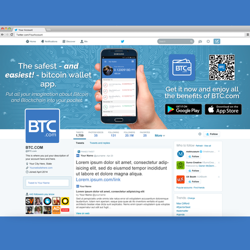 Bold twitter banner with a little bit of fun, for bitcoin app.