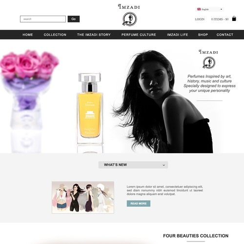 Create Homepage for a new brand of high end artisan perfume for China users