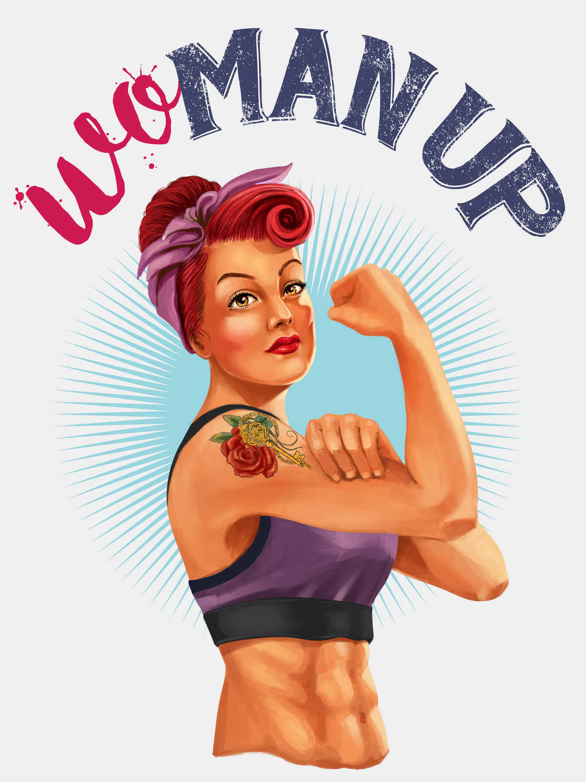 'Wo-Man Up!' Design for a technical running top in the style of a fashion tee.