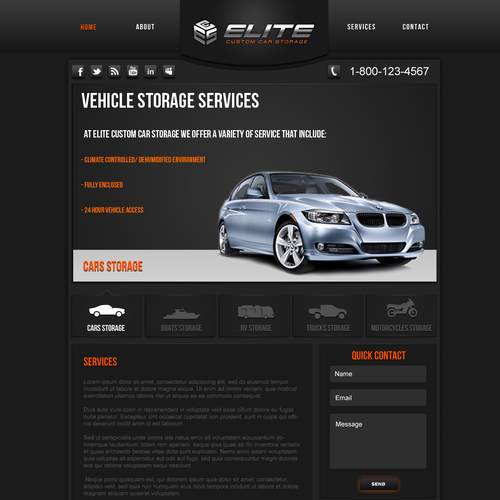 Elite Custom Car Storage needs a new website design