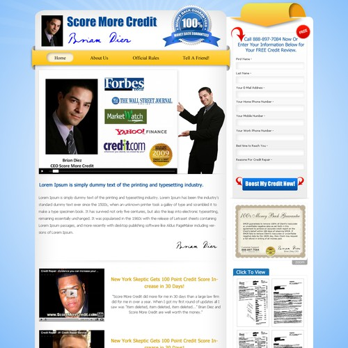 Credit Repair Service - Redesign 1 Page