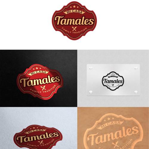 Create a vintage sign logo for Mi Casa Tamales