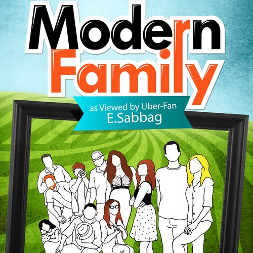 "Create a highly graphic, fun, colorful book cover for a book on the sitcom ""Modern Family"""