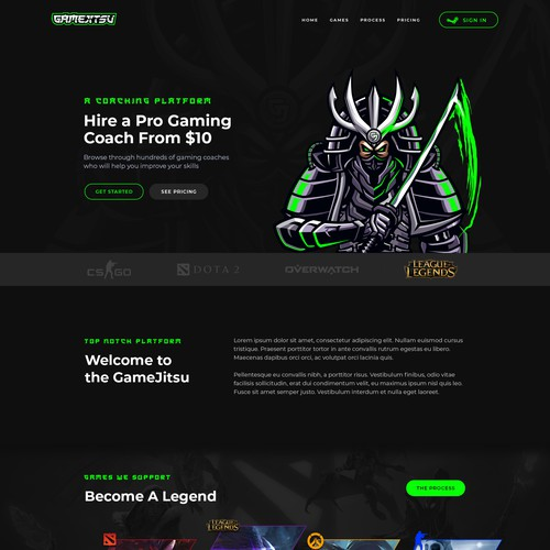 Landing Page Design for Gaming Platform