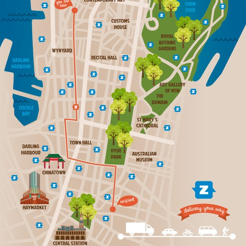 Design key visual - Incorporating a stylised map of Sydney and how our service works.