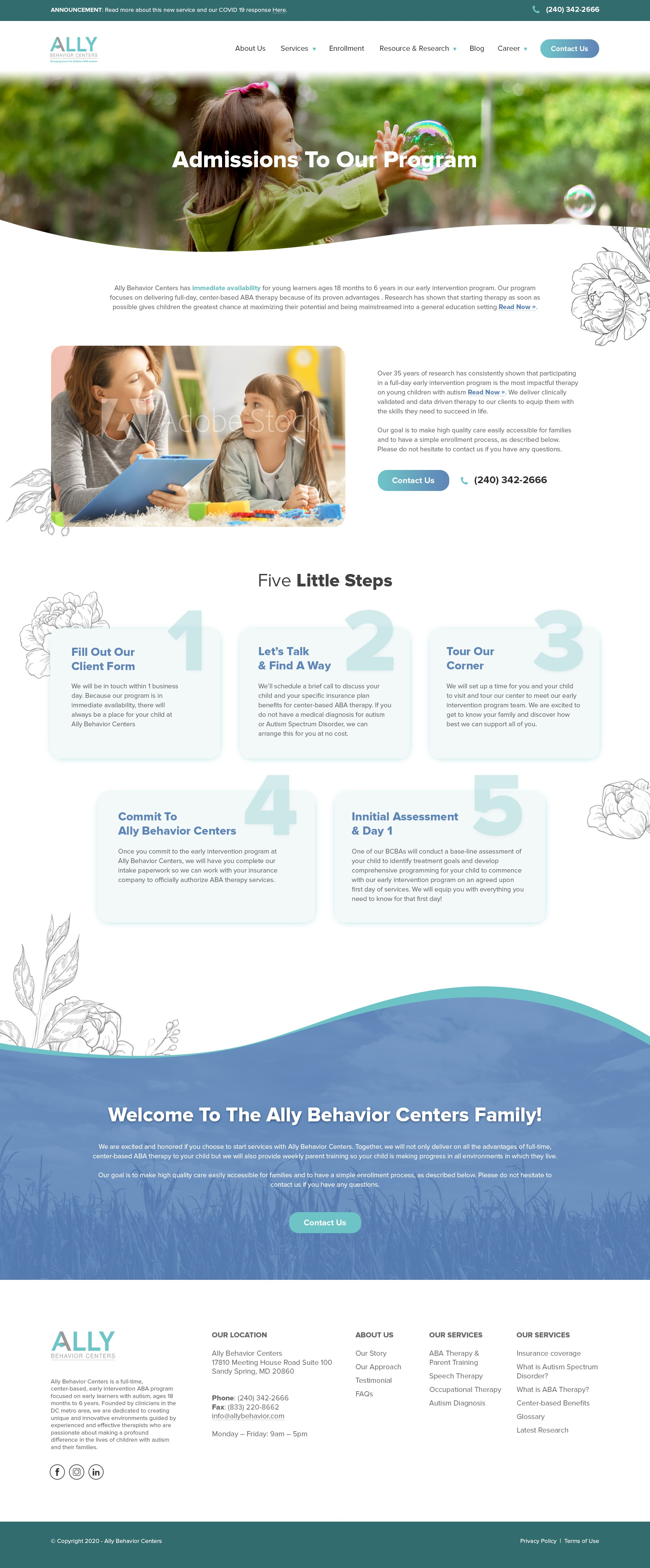 We need a professional and clean web design for our autism therapy company