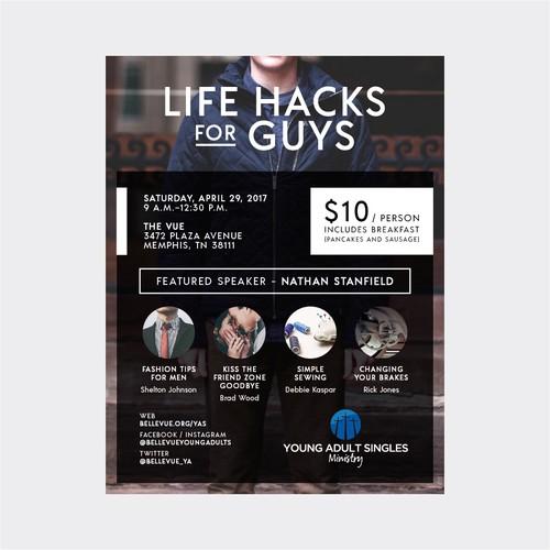 life hacks for guys poster
