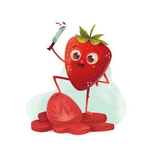 Illustration for a label of freeze-dried strawberries