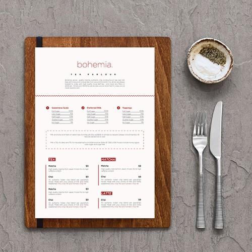 Minimalist menu design for a cafe