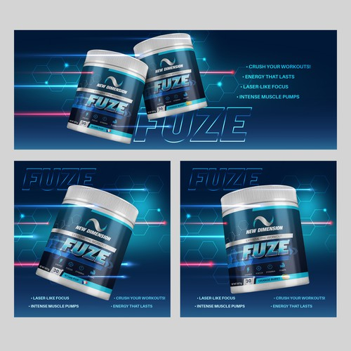 Facebook Banners and Ads for supplement brand