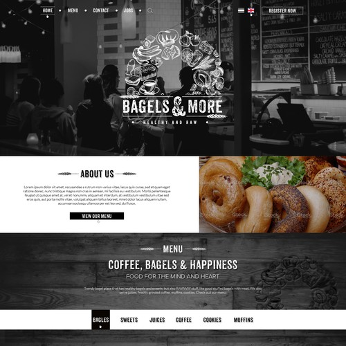 """Healthy & RAWWW, new Bagel place needs trendy website"