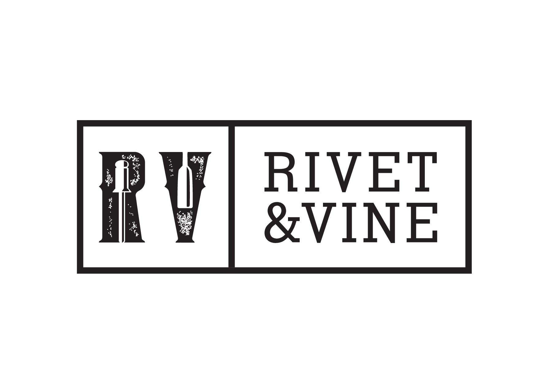 Create a rugged, very masculine, yet sophisticated logo for Rivet and Vine.