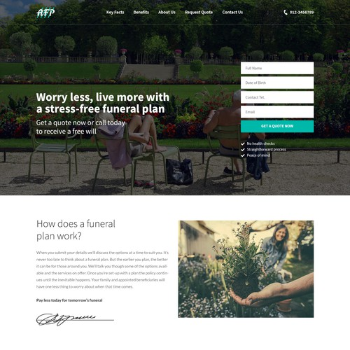 Aesthetic design for funeral plan company