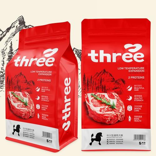 THREE PACKAGING OF PET FOOD