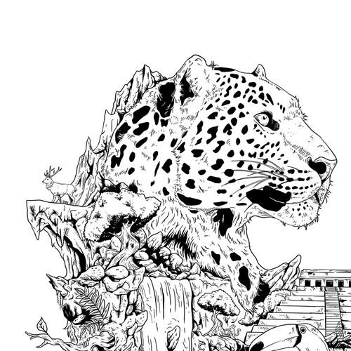 Jaguar With Jungle Theme