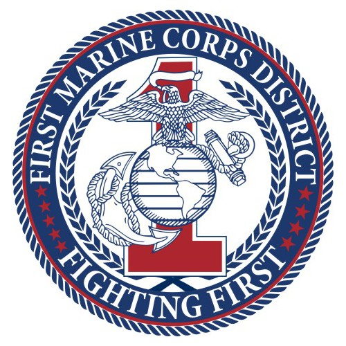 Classic, simple logo for First Marine District