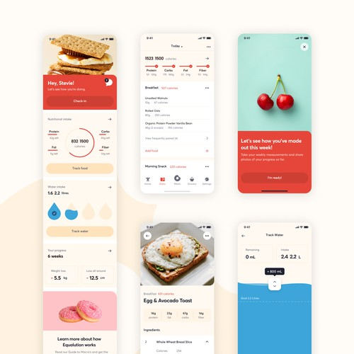 iOS Design for a Fitness / Dieting App