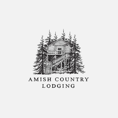 Logo concept for a rustic cabin and treehouse rental agency.