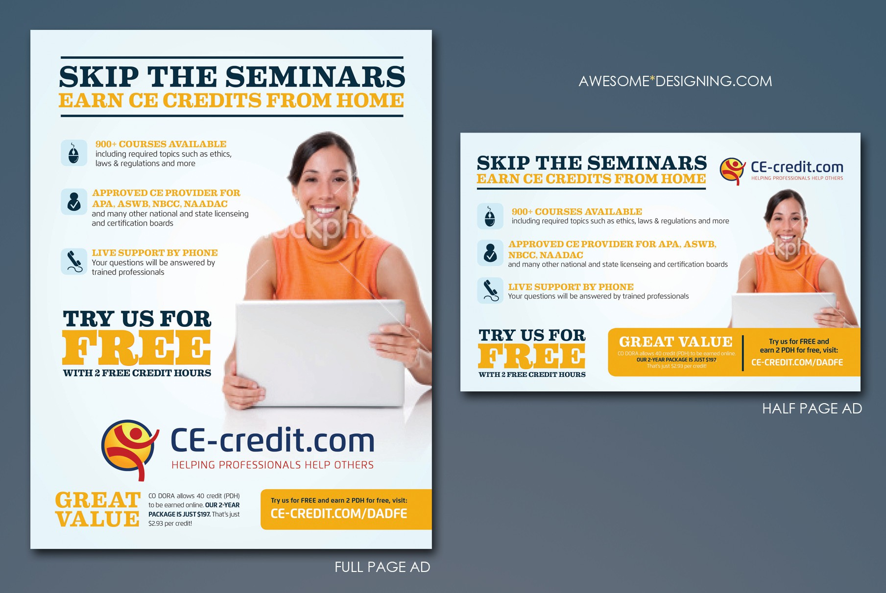 Create a unique one page and half page advertisement for CE-credit.com.