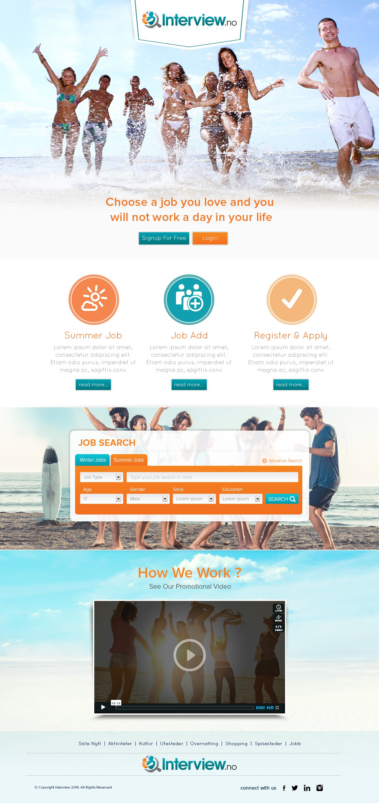 Creative information site about summer and winterjobs landingpage.