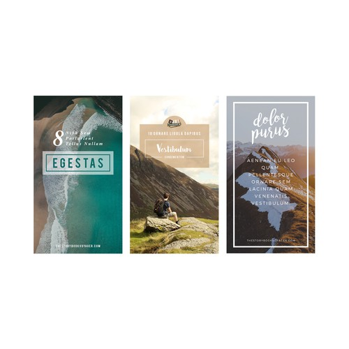 Two to three (2-3) Pinterest board designs