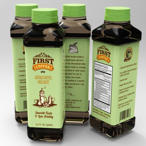 First Coffee Drink Label Design