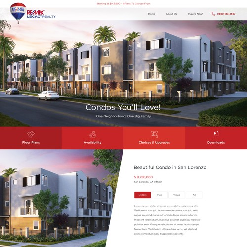 Homepage design for RE/MAX Legacy Realty