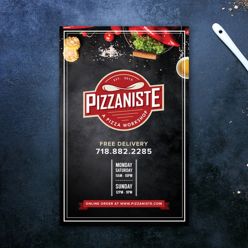 Fun menu design for PIZZANISTE, New York