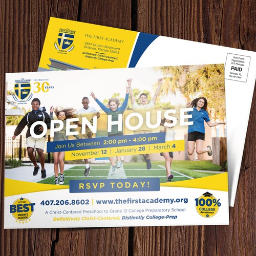 Open House Postcard for The First academy