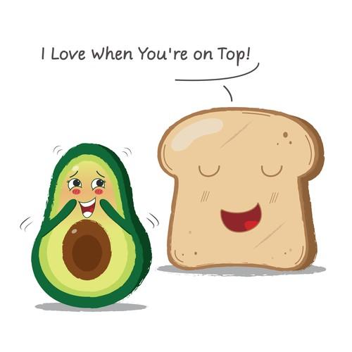 Cute and Funny Avocado Toast T-Shirt Design