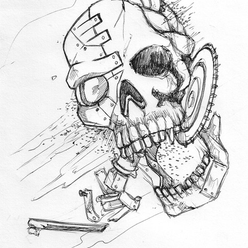 Gritty and Distressed Broken Skull Illustrations