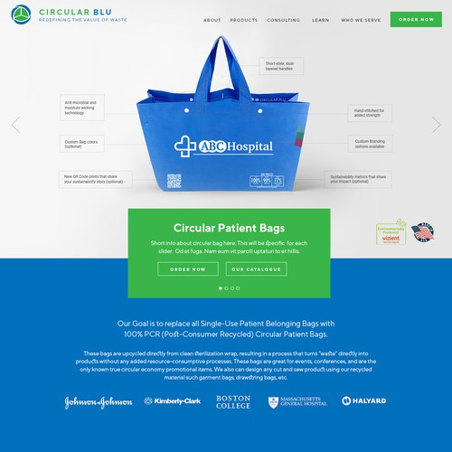 Landing Page for Recycled Bags