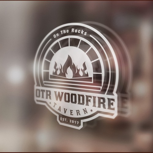 Logo for a wood fired pizza restaurant/tavern.