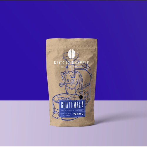 packaging concept for coffee roaster Kicco Koffie with CBD