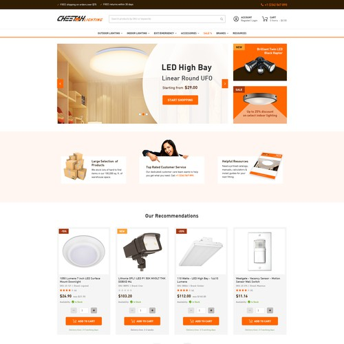 Homepage design for Cheetah Lighting's magento powered e-commerce site
