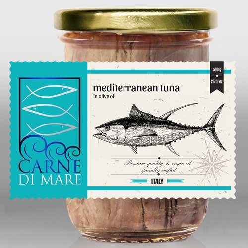 Carne Di Mare, seafood& fish, label design