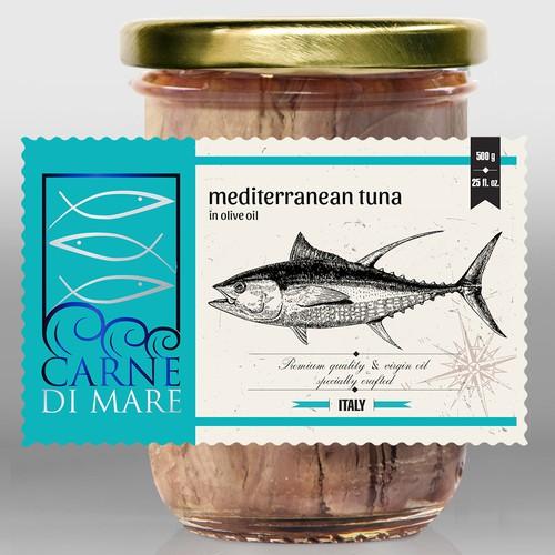 Carne Di Mare, seafood& fish, label design