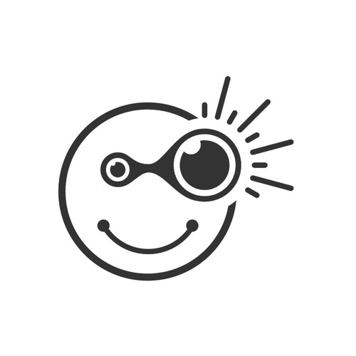 bold logo concept for  smily face with its right eye looking carefully at something