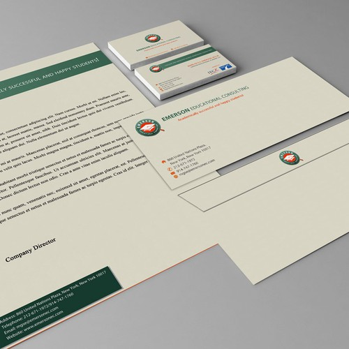 Create the next stationery for Emerson Educational Consulting