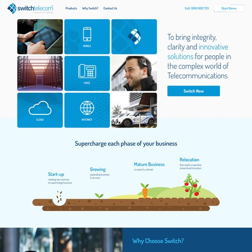 Creative yet to the point telecom web design