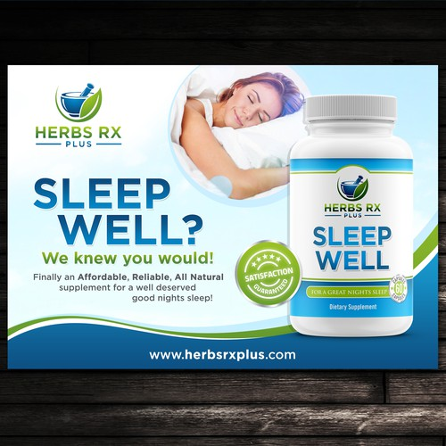 Promotional Flyer for Herbs RX Plus - Sleep Well!