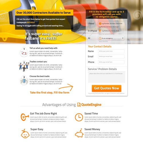 Re-design Existing Home Improvement Home Page to Increase Conversion
